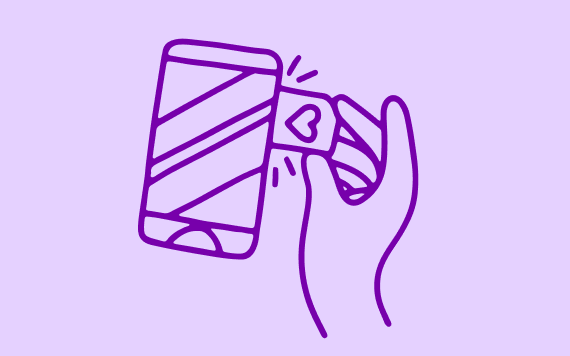 Drawing of SIM card being inserted into phone