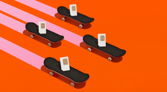 Sim cards riding skateboards