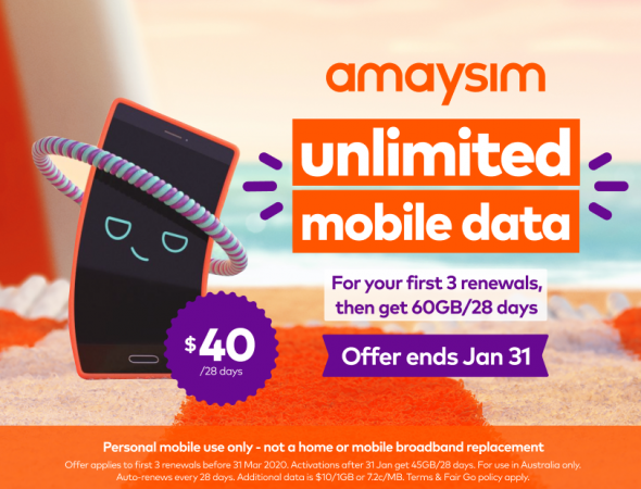 amaysim unlimited mobile data offer
