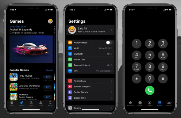 Picture of iOS 13 Dark Mode