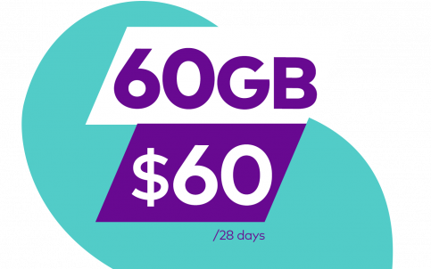 60GB for 60 dollars on 28 days