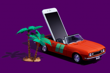 smartphone in toy car