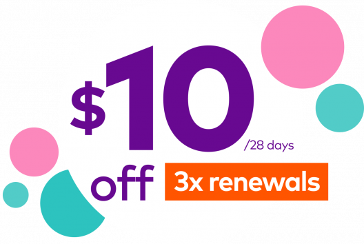 10 dollars off 3x renewals per 28 days