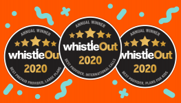 WhistleOut awards for Best Provider International Calls 2020, Best Prepaid Provider Large Plans 2020 and Best Mobile Phone Plan for Kids 2020